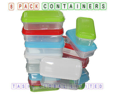 8x 250ml Plastic Food Containers Storage Boxes Baby Weaning Feeding Freezer Pots