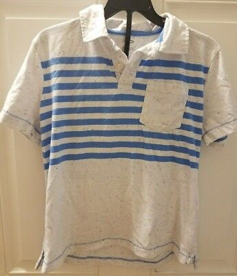 Old Navy Boys' Size M-8 Short Sleeves Shirt Off White & Blue Stripes & Flecks