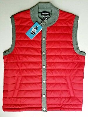 Barbour Men's Red Essential Quilted Gilet Vest XL NWT