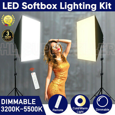 New Photography Studio Dimmable LED Softbox Lighting Soft Box Light Stand Kit AU