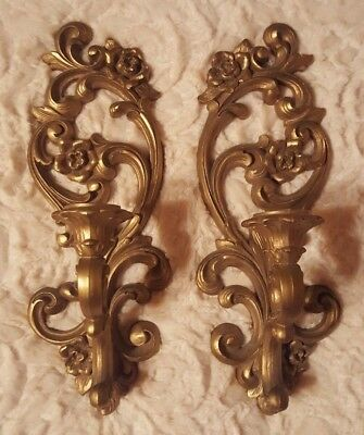 vintage homco syroco 2 gold wall sconces candle holders home