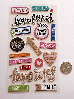 NO 298 Scrapbooking - 16+ Chipboard Family Saying Stickers - Scrapbook