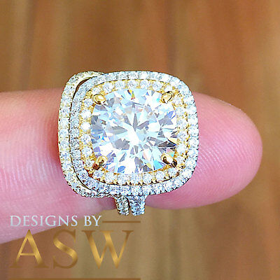 Huge 14K Solid White Gold Cushion Simulated Diamond Engagement Ring Band 6.80Ct