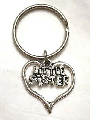 LITTLE SISTER Key Chain/ Pendant - 2 silvertone charms heart US Seller FREE SHIP