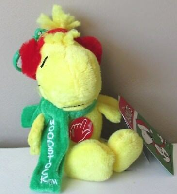 Peanuts Woodstock Christmas Musical Plush Clip-on w/Ear Muffs & Green Scarf New