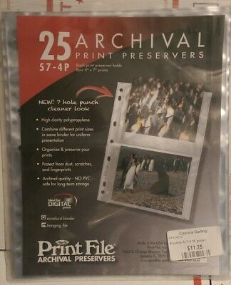 """Open Print File 57-4P Archival Photo Pages Holds Four 5 x 7"""" Prints, Pack of 23"""