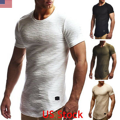 Fashion Casual Men's Slim Fit O Neck Short Sleeve Muscle Tee T-shirt Tops Blouse