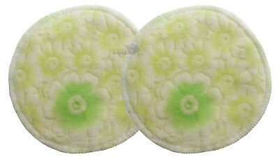 Bamboo Cloth Breast Nursing Pads Washable reuseable eco - Green Flowers 2 Pack