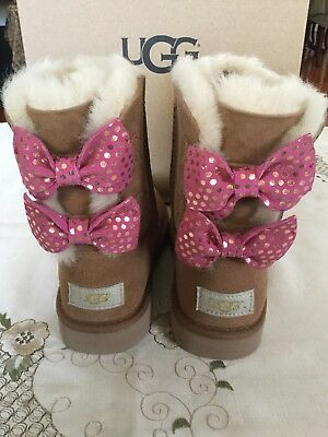 0fbb3b11d UGG Girls Meilani Dots Chestnut Boots With Pink Bows NWB Size 3 Little Kid