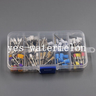 100 Pcs Mixed Color Nylon Latch Flat Polishing Dental Prophy Brushes Cups Kit