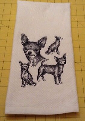 Chihuahua-short Collage Sketch Embroidered Williams Sonoma Kitchen Hand Towel