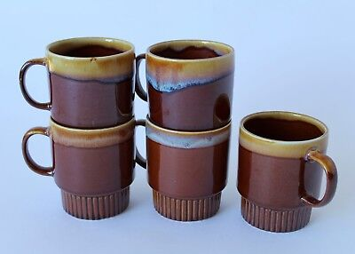 Vintage Retro 60s/70s CERAMIC COFFEE MUGS x5 Stackable/Stacking DRIP GLAZE brown