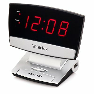 Westclox LED Display Alarm Clock with USB Charging Port, Black