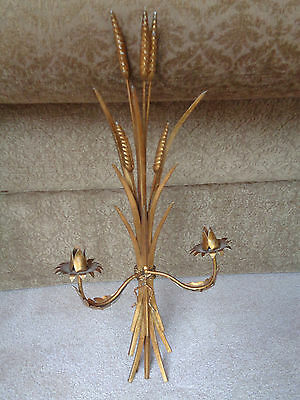Vintage Florentine Tole Metal Gold Scone Italy W 2 Metal Candle Holders Wheat