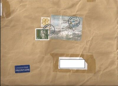 Lithuania 2005 large priority cover. Sent to Newport.