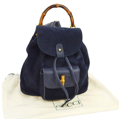 74cc51ac3a6ff3 Authentic GUCCI Bamboo Backpack Hand Bag Navy Suede Leather Italy Vintage  A36718