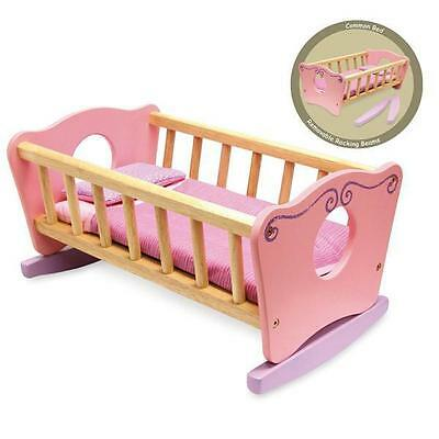 NEW I'm Toy Wooden Dolls Rocking Cradle / Cot Bed with Bedding