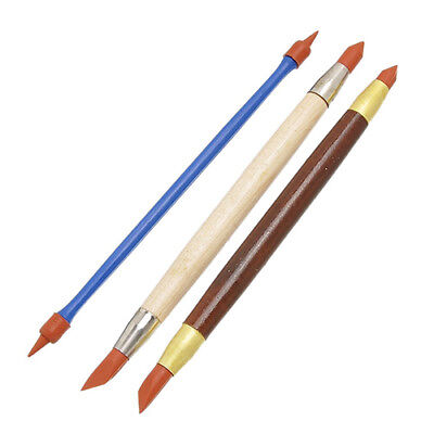 3Pcs/Set Rubber Head Clay Sculpture Carving Modeling Shaping Pen Tool Reliable