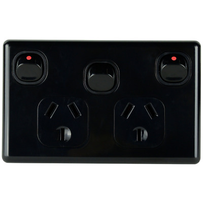 Double Power Point Classic 10 Amp With extra Switch BLACK 240 Volt