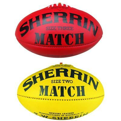 Sherrin Match AFL Leather Football In Yellow & Red Size 4 & 5 From Sherrin