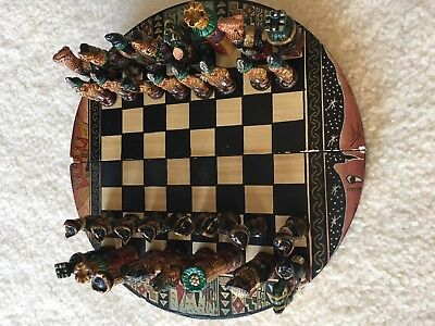 Hand Painted Peruvian Ceramic and Wood Chess Set