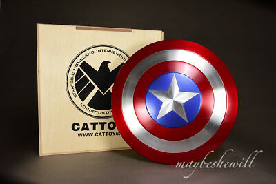 """Cattoys Captain America Shield Metal Deluxe Collectible 1:1 22"""" Avengers endgame"""