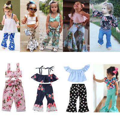 d82d73b9b97ba Flared Pants Outfits Kid Baby Girl Floral Tops +Loose Leggings Summer  Clothes