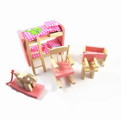 Kids Dolls House Furniture Set Miniature Wooden Family Child Play Bed Room Toy