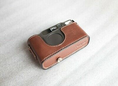 Handmade Genuine Real Leather Half Camera Case Bag Cover for Contax T3 Coffee Color