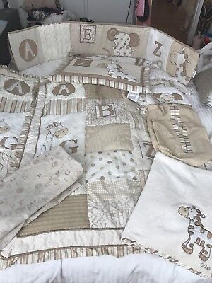 7Pcs Cream Baby Bedding Cot Set Nursery Quilt Bumper Changing Nappy Cover