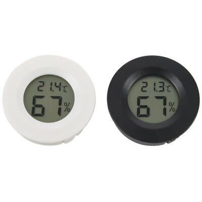 2 pcs black + white plastic round electronic hygrometer with AG13 battery D8C7