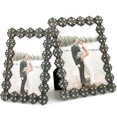 Picture Photo Frame Handmade Resin Stones Bronze Flowers Surrounded
