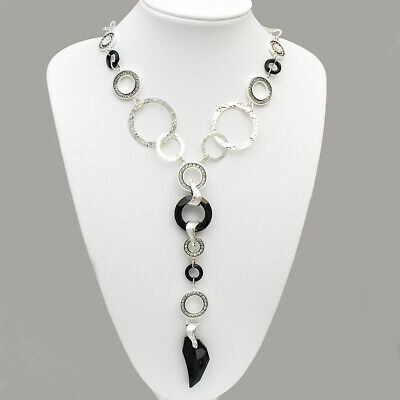 Collier mit Swarovski Elements Black Stone von Spark Silver Jewelry 925/- Silber