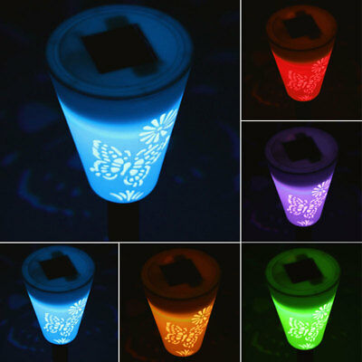 Butterfly Solar Power 7-Color Changing LED Light Outdoor Landscape Garden Lamp|