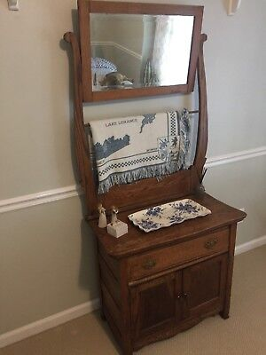 Antique Washstand Mirror With Towel Bar Solid Oak 199 00