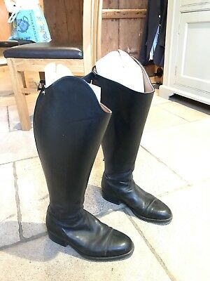 Sarm hippique 1600 Long black Leather Riding Boots 39 XXW Wide 6 Dressage