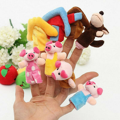 Preschool Kids Finger Puppets Funny Plush Dolls Family Story Little Pigs Set!