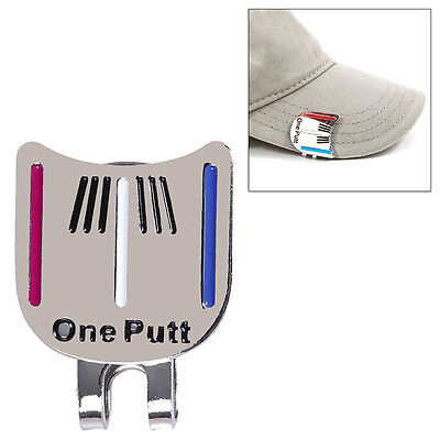 One Putt Golf Alignment Aiming Tool Ball Marker Magnetic Visor Hat Clip Alloy!
