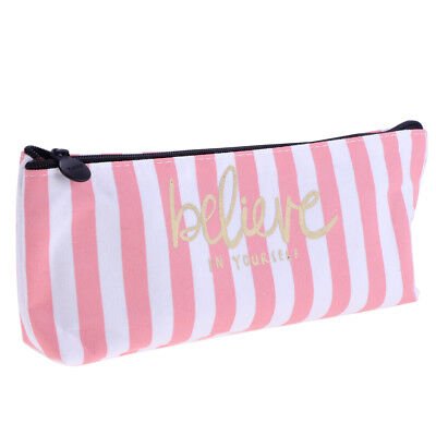Fashion Zipper Pencil Pen Case Bag Canvas Makeup Cosmetic Bag Pouch Stripes