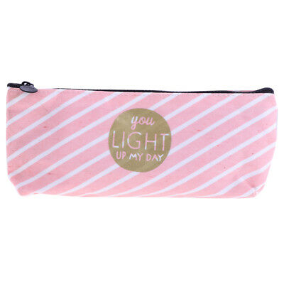 Fashion Zipper Pencil Pen Case Bag Canvas Makeup Cosmetic Bag Pouch Stripe