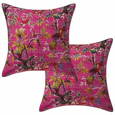 """Indian Cotton Bird Throw Kantha Pillow Case Covers 16"""" Ethnic 2 Pc Cushion Cover"""