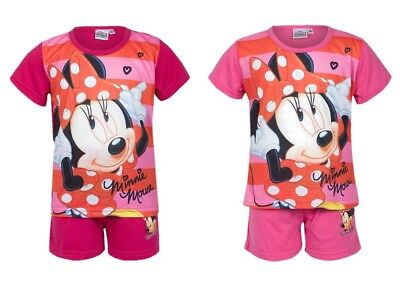 Girls Cute Disney Minnie Mouse Character Print Short Pyjama Set - Sizes Age 3-8