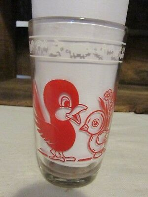 Vintage Kraft Cheese Swanky Swig Children's Juice Glass Red Elephant and Bird