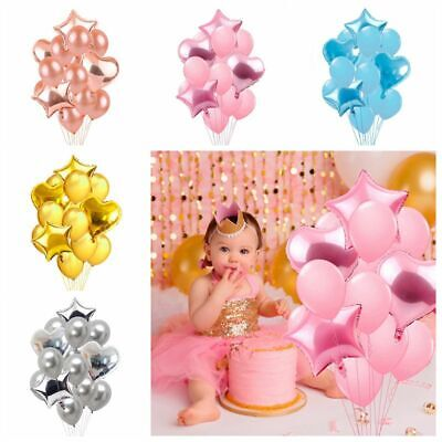 14PCS Rose Gold Foil Balloon Bunch Set Helium Happy Birthday Wedding Party Decor