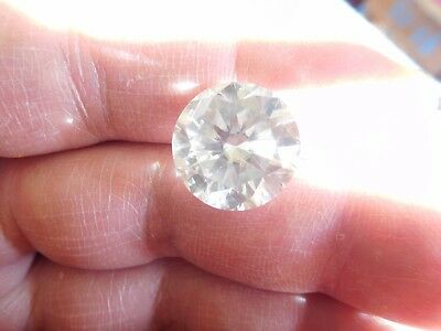 Fiery 13.25 ct Ice White Color Round Loose Moissanite VVS1 15.50 mm