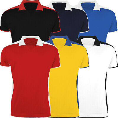 New Mens Polo Shirt Contrast Sports Short Sleeve No Button Elasticated Neck Top