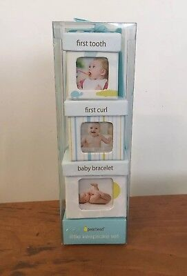 Baby's Firsts 3 Set Pink Keepsake Blue Boxes Tooth Curl & Bracelet By Pearhead