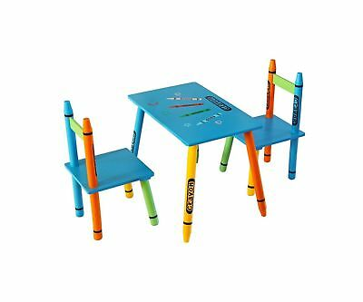 Kiddi Style Childrens Wooden Table and Chair Set, Blue .