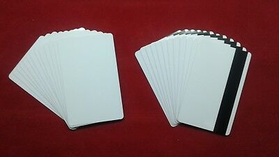50 Blank White PVC Cards CR80 30 mil 3Track Hico Magnetic Stripe thermal print