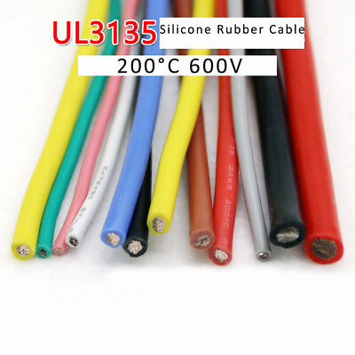200°C 600V UL3135 Silicone Rubber Wire Cable 10/12/14/16/18/20/22/24/26/28/30AWG